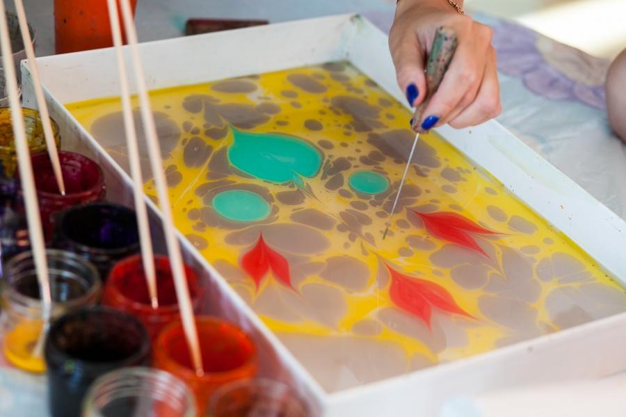 Эбру рисование на воде своими руками 48